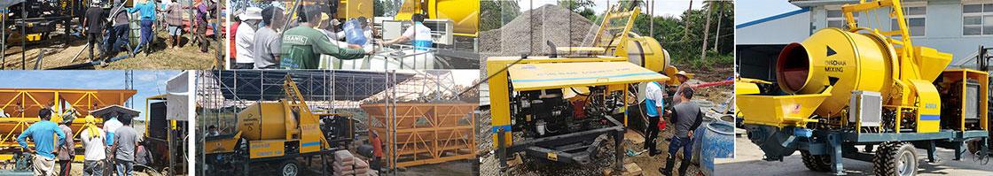 concrete trailer pump and concrete mixer pump